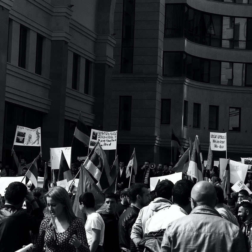 Group of people rallying for change