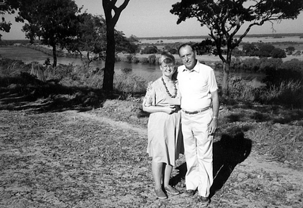 A black and white photo of Derek and Ruth Prince