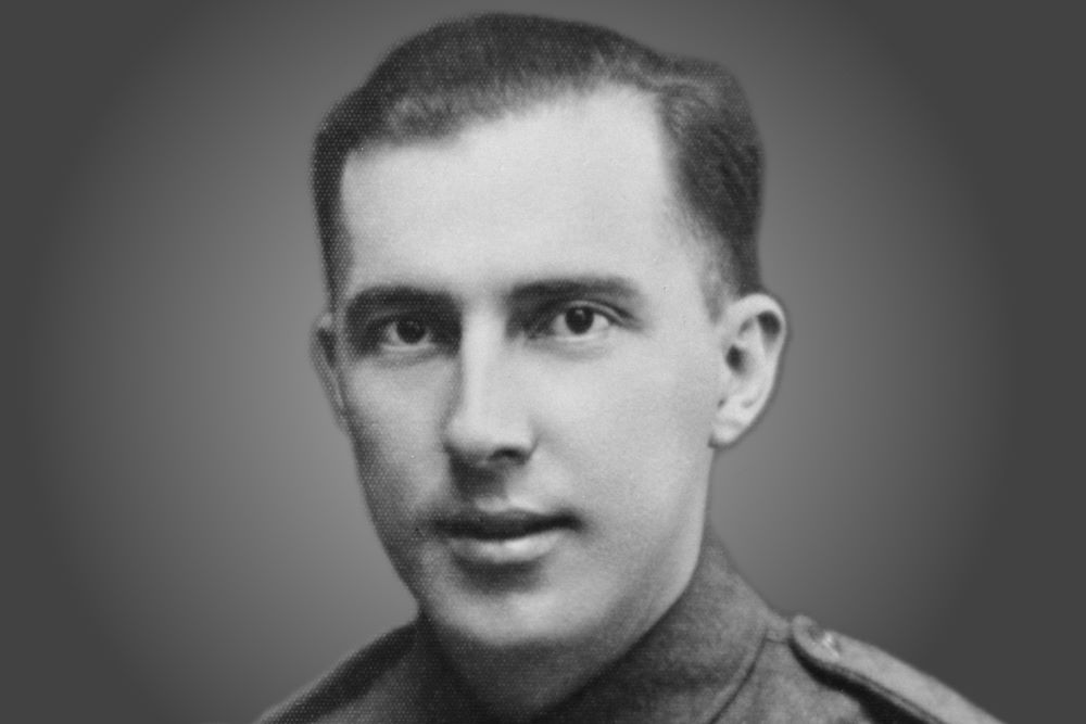 A portrait of Derek Prince as a young man in army uniform