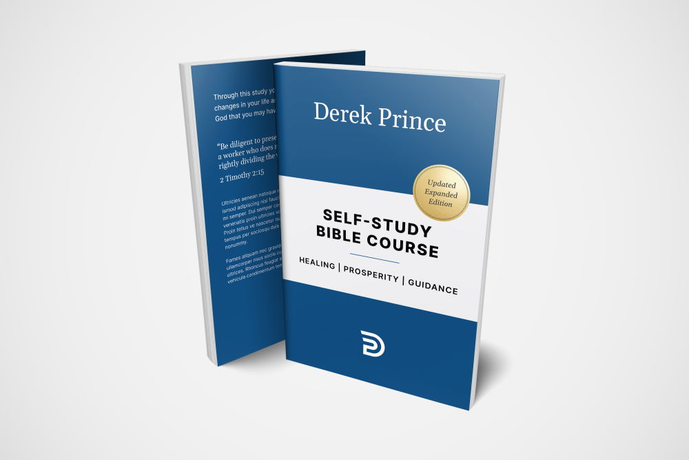 """The front and back cover of a Derek Prince book titled """"Self-Study Bible Course"""""""