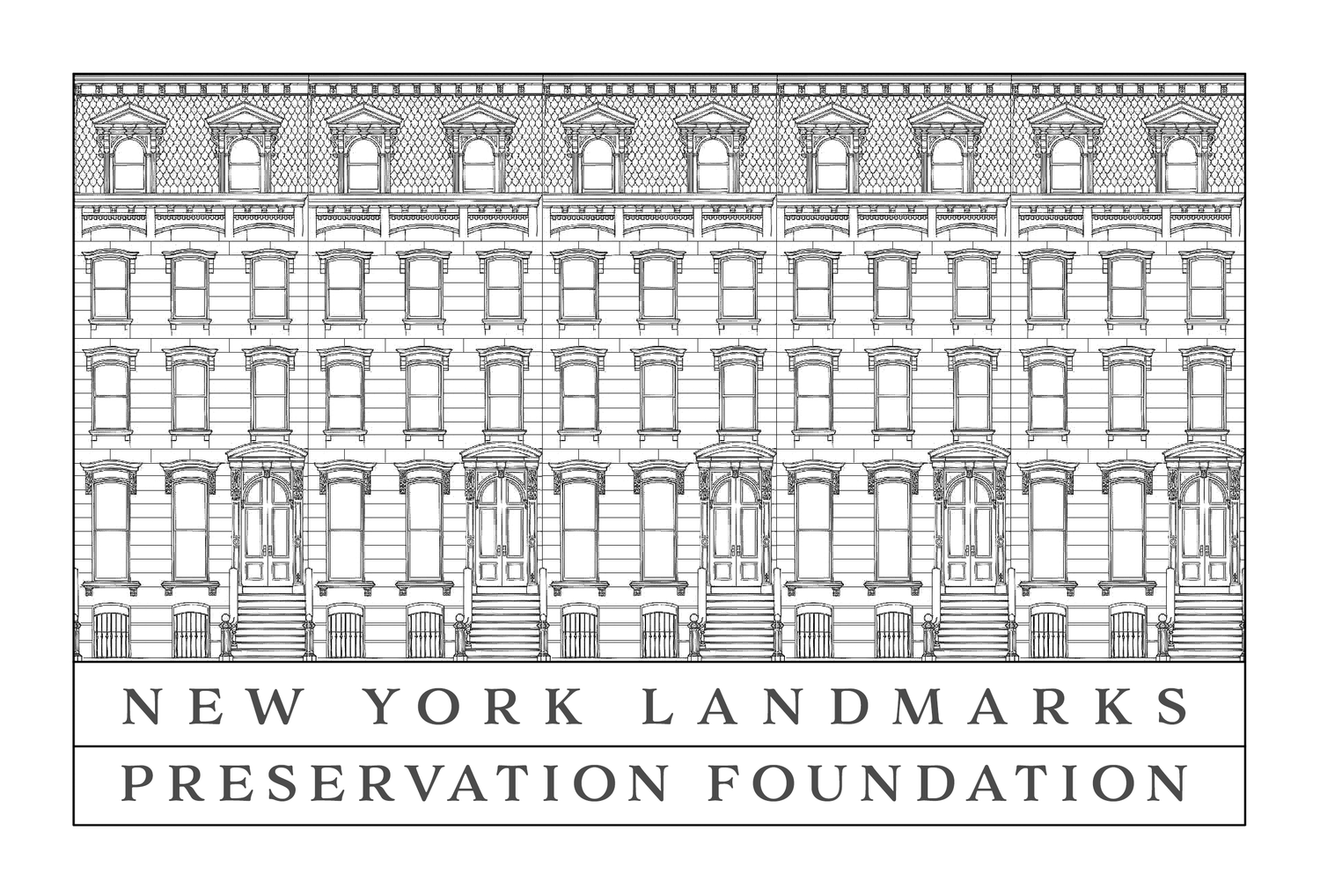 Image of New York Landmark Preservation Foundation logo which includes a black and white outline of an historic building facade.