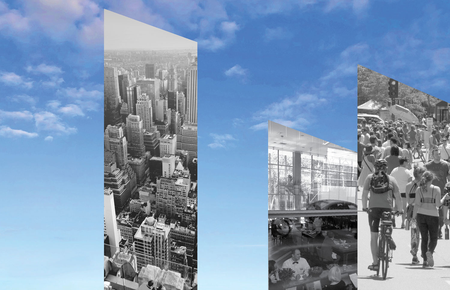 A collage of fragments of New York City streetscapes arranged as building shapes over a blue sky with clouds.