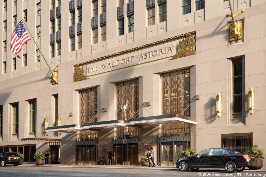 A photo of the entrance of the Waldorf Astoria.