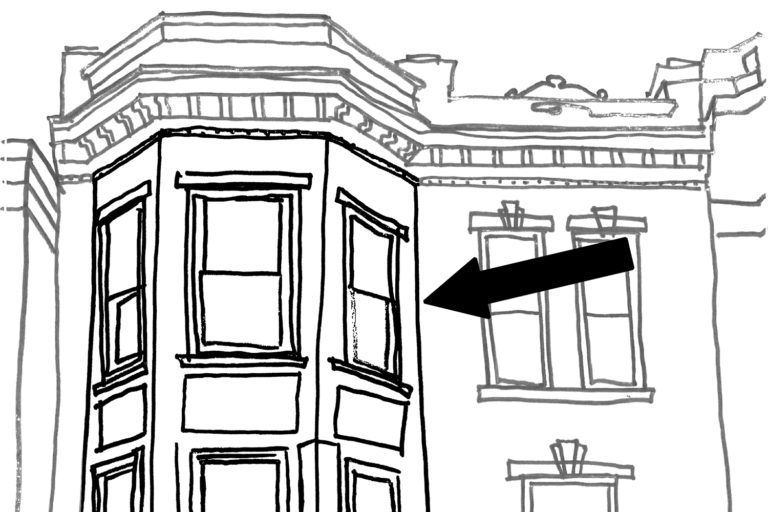 A line drawing of the facade of a building, featuring a bay window.