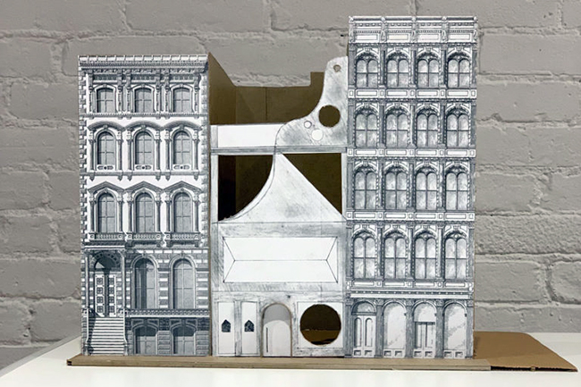 A photo of a student-build model of structures in New York's historic district of Soho, created during one of the Center for Architecture's Design Discovery programs.