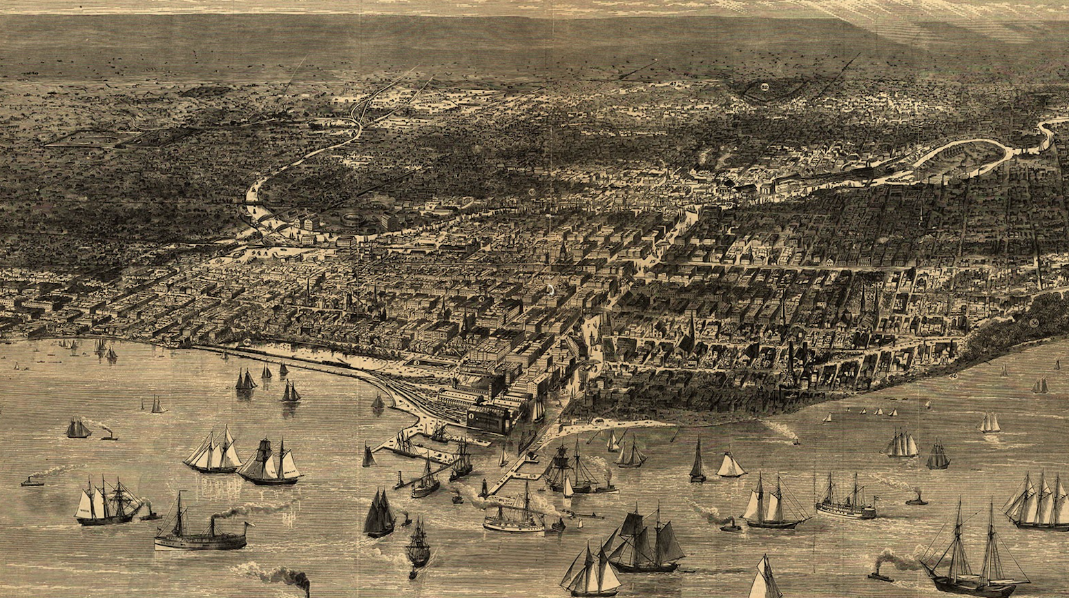 A drawing of boats on Lake Michigan and Chicago from above.