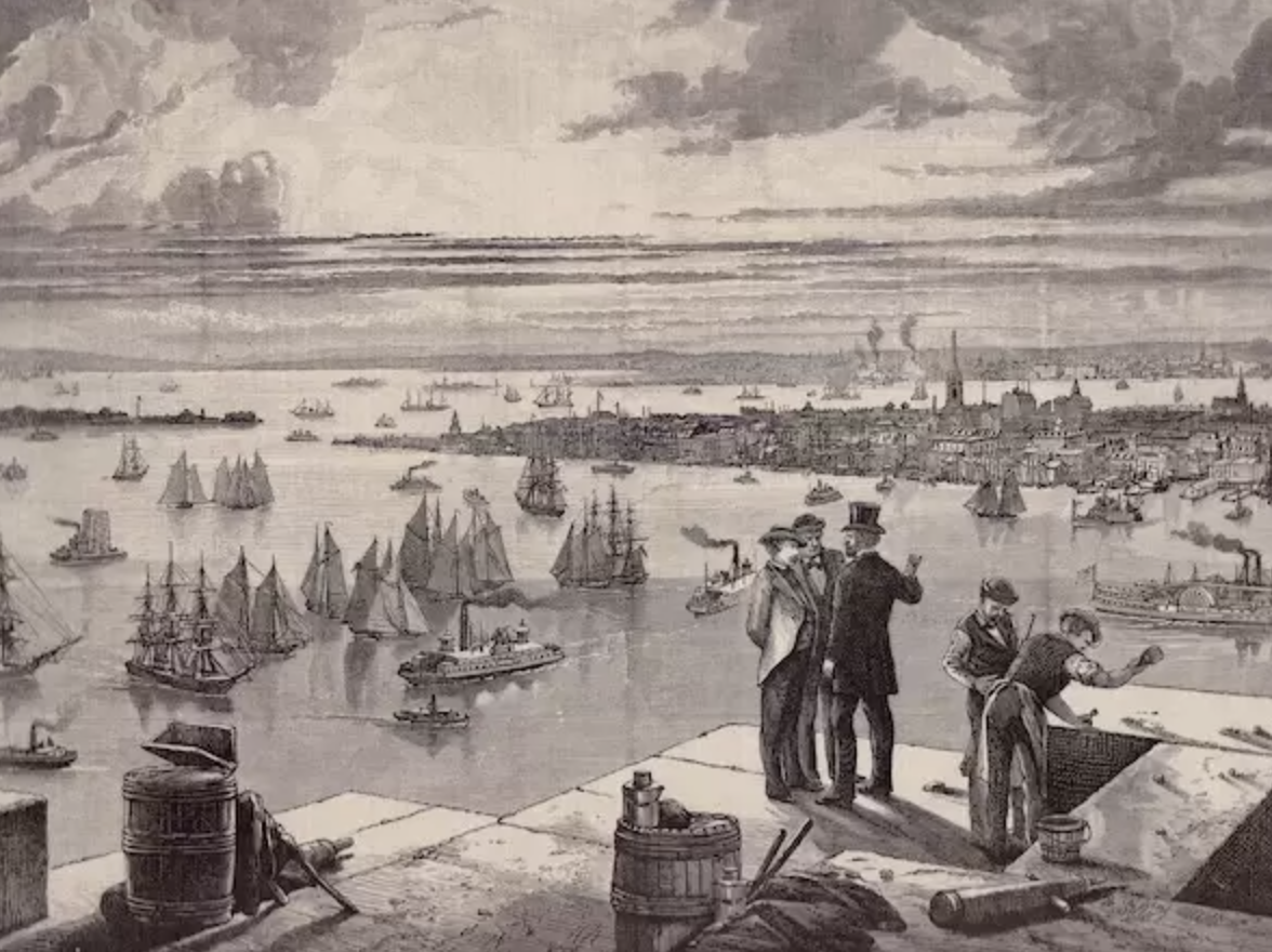 A drawing showing the construction of the Brooklyn Bridge.