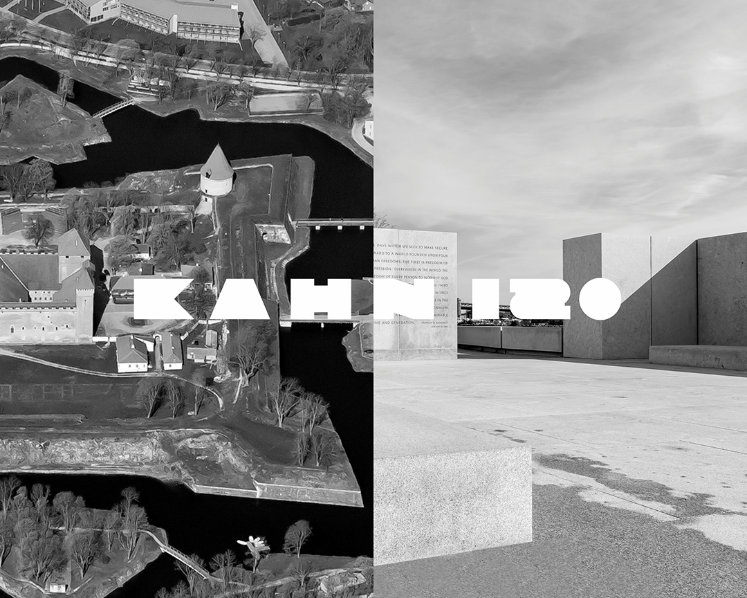 Two black and white photos side by side. One on the left is a castle and the one on the right is a concrete waterfront park designed by Louis Kahn. Kahn 120 text overlaid