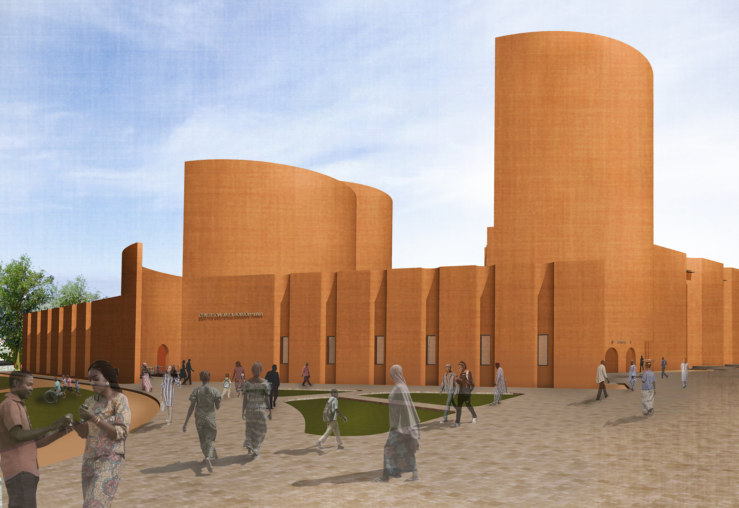 A rendering of the Niamey Cultural Center by atelier masōmī.