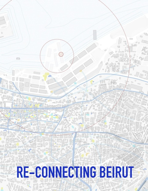"""A map of Beirut with the text """"Reconnecting Beirut"""" superimposed over it."""
