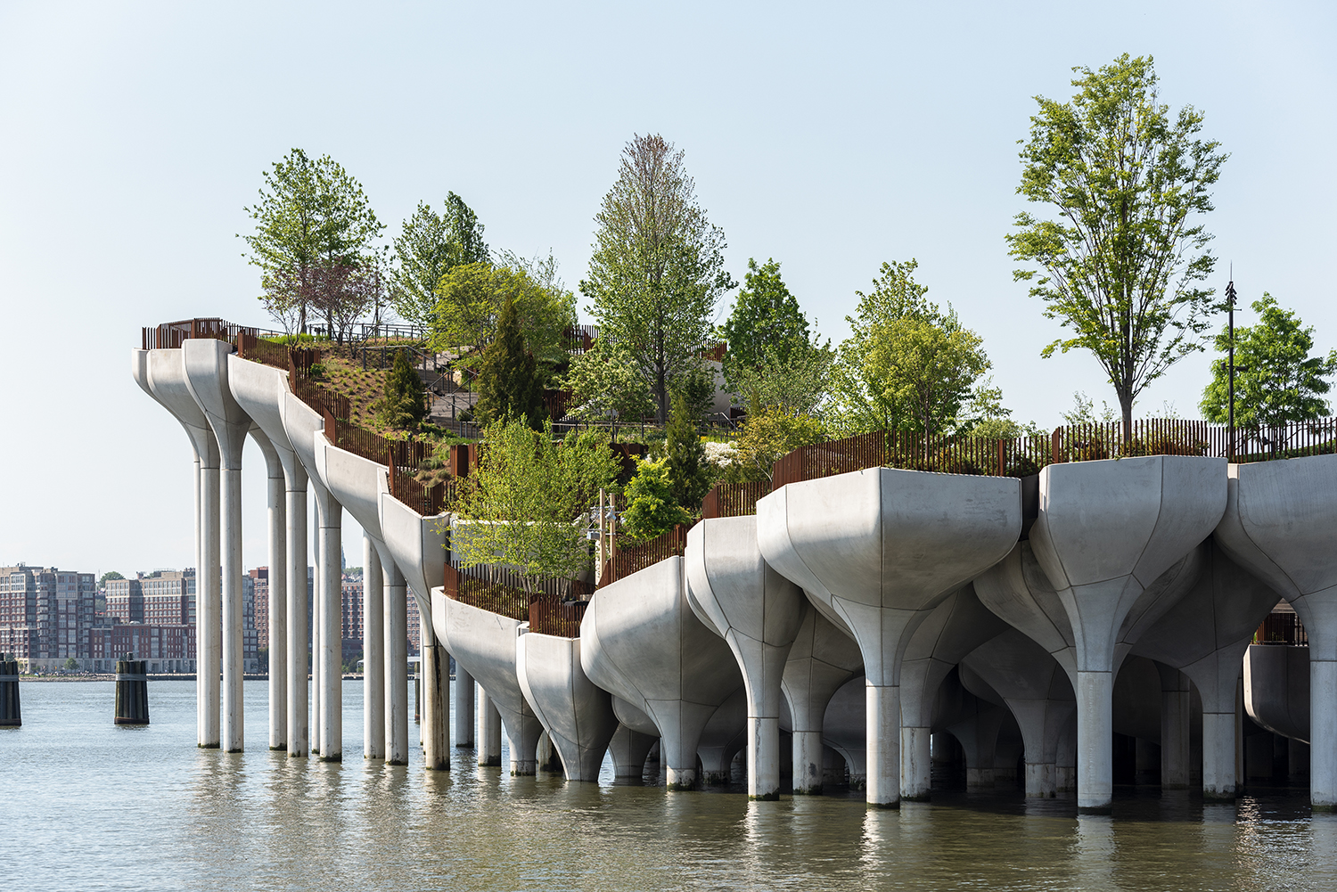Image of the multiple Little Island pier stakes in the Hudson River