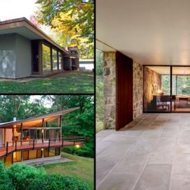A composite image featuring photos of three houses: the Celanese House designed by Edward Durrell Stone, the Chivvis House designed by Eliot Noyes with an addition by Alan Goldberg, and the Boissonais House designed by Philip Johnson.