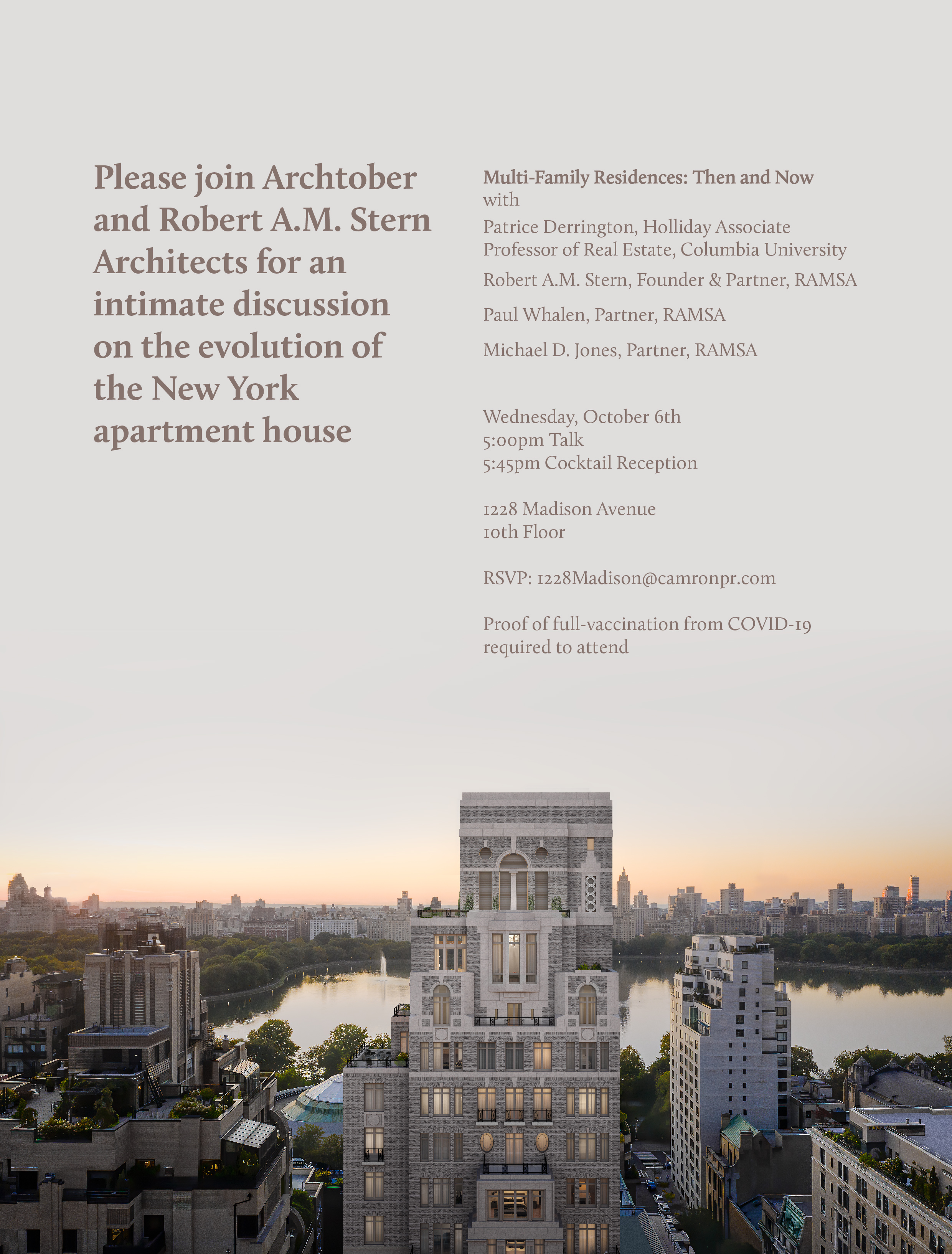 Promotional image for a program on multi-family residences, featuring New York City residential towers.
