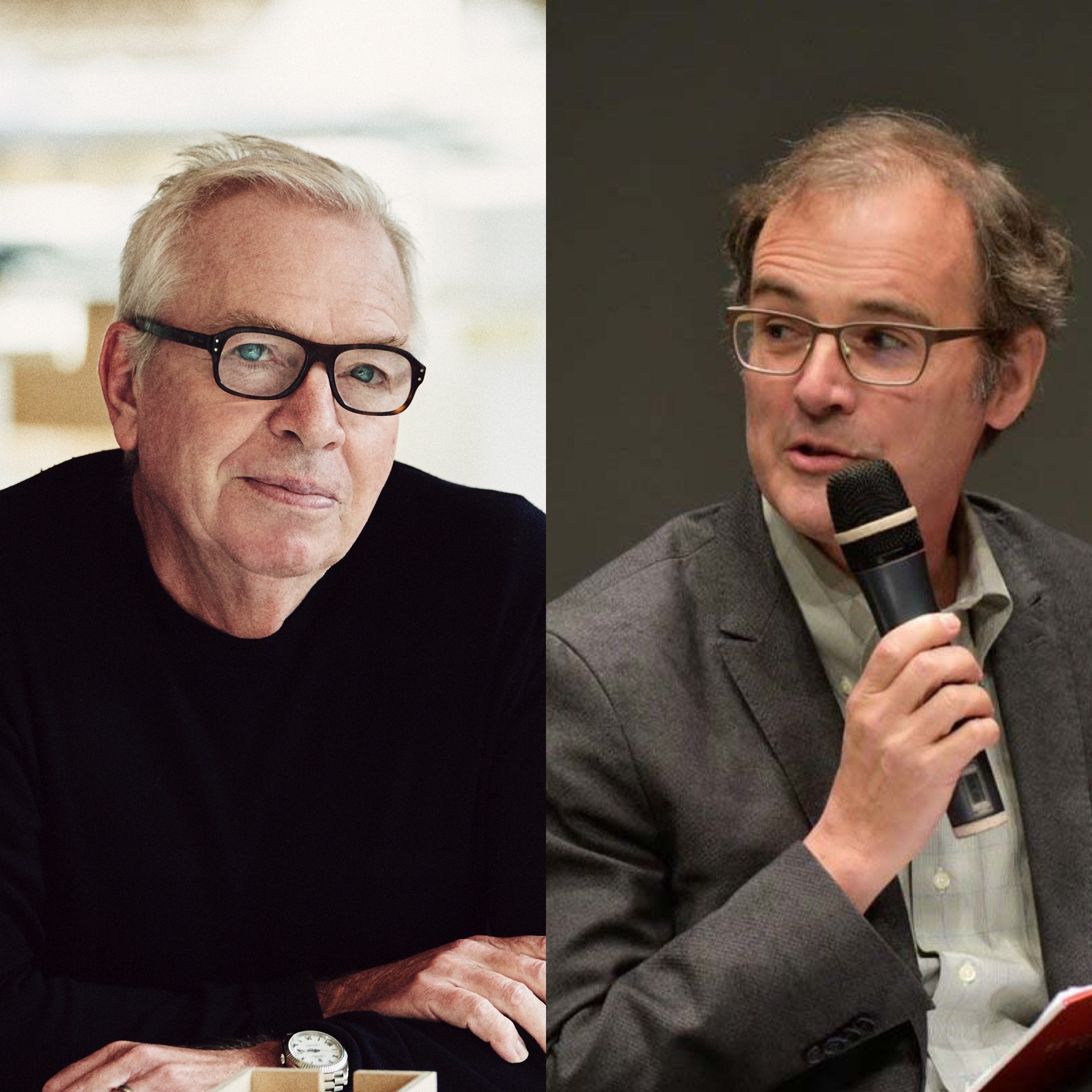 Photo of David Chipperfield on the left, with a photo of Barry Bergdoll on the right.