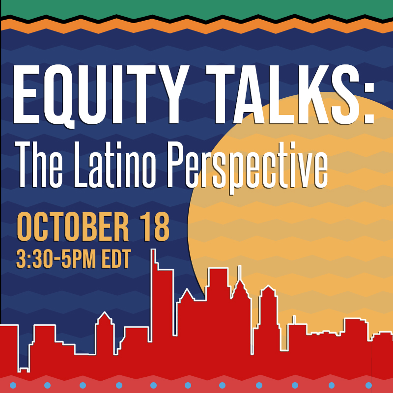 Promotional image for the Equity Talks event with a skyline rendered in red and a big yellow sun in the background.
