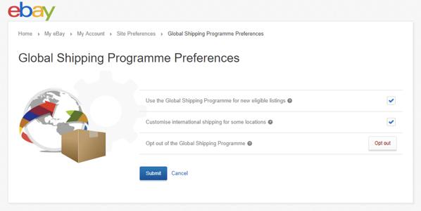 eBay's Global Shipping Programme Preferences