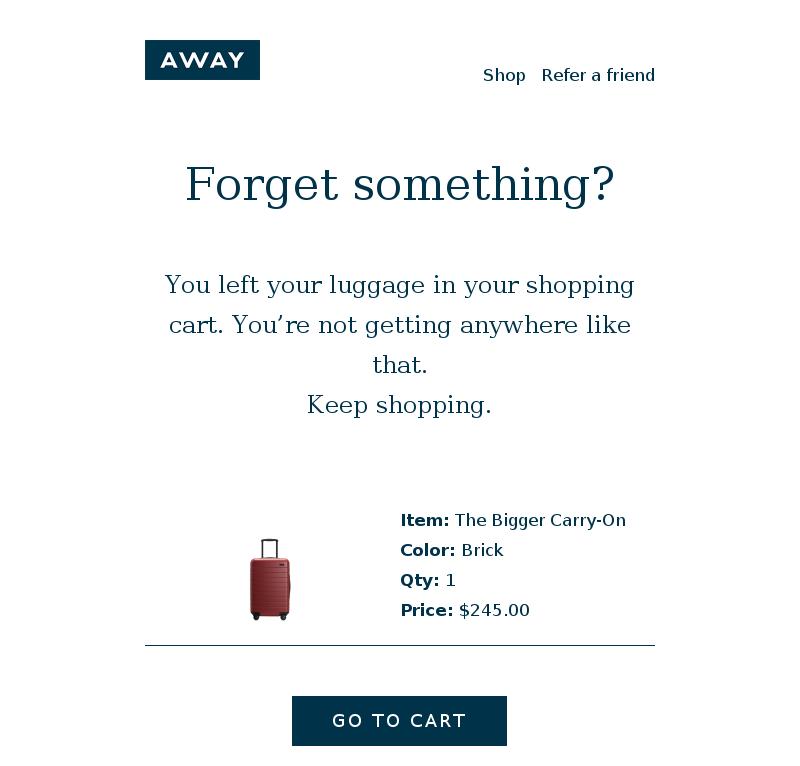 Cart abandonment email example cta