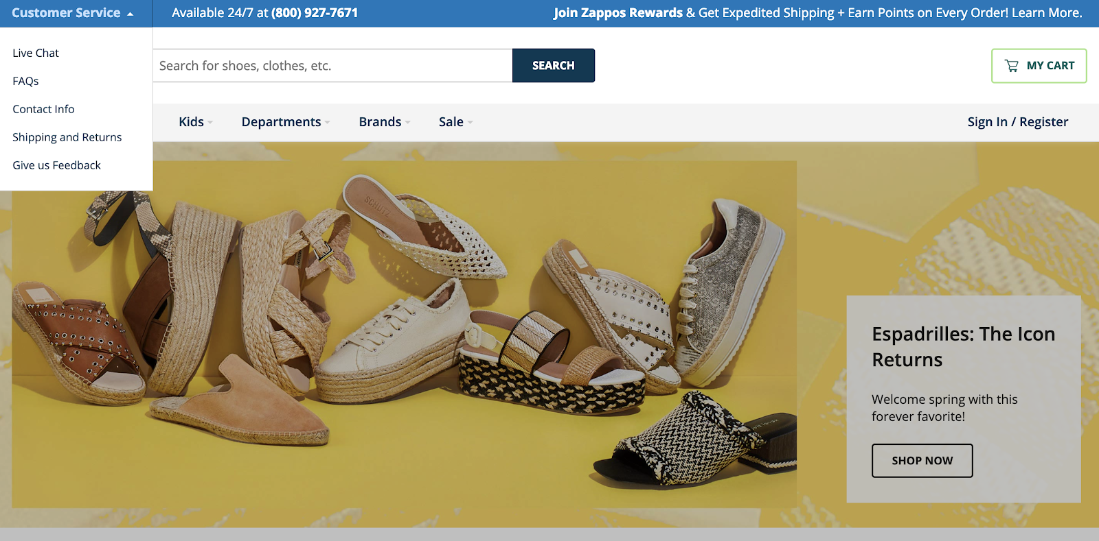 Live chat - Zappos