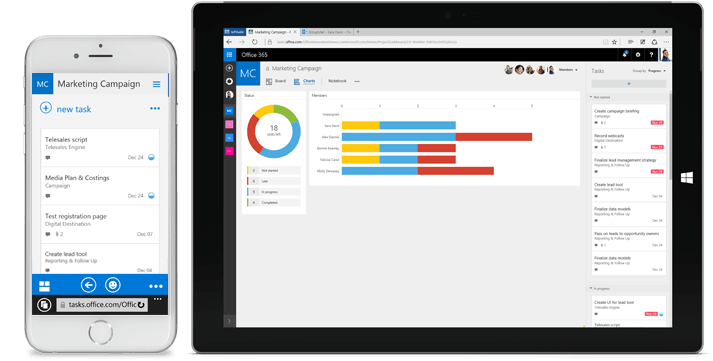 Microsoft Planner Screenshot Cloud Project Management Tool on Mobile and Surface