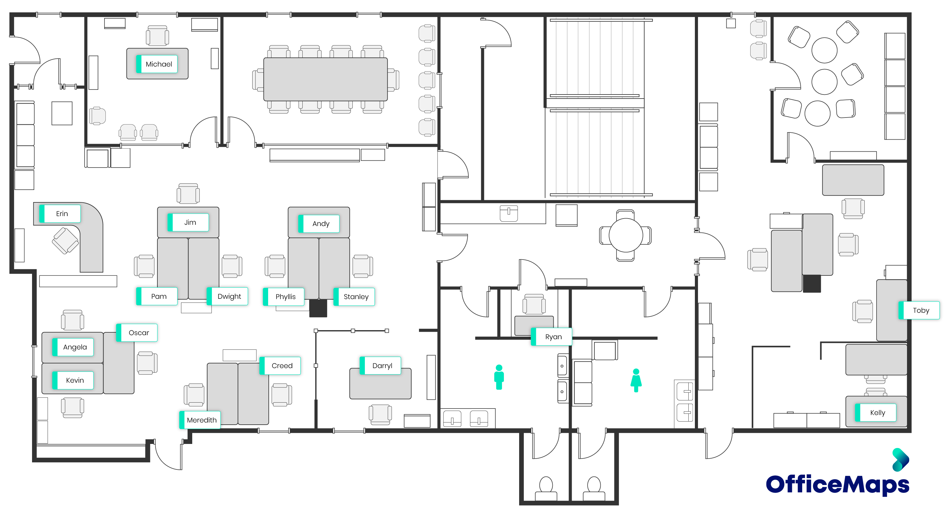 Map of The Office - Dunder Mifflin Office from TV Show