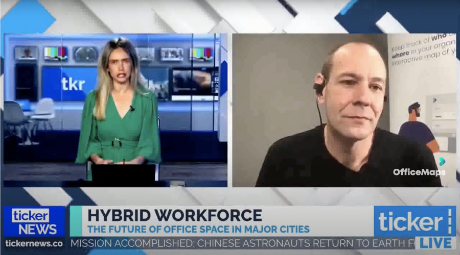 Screenshot of Robert Wilson from OfficeMaps doing an interview with TickerTV