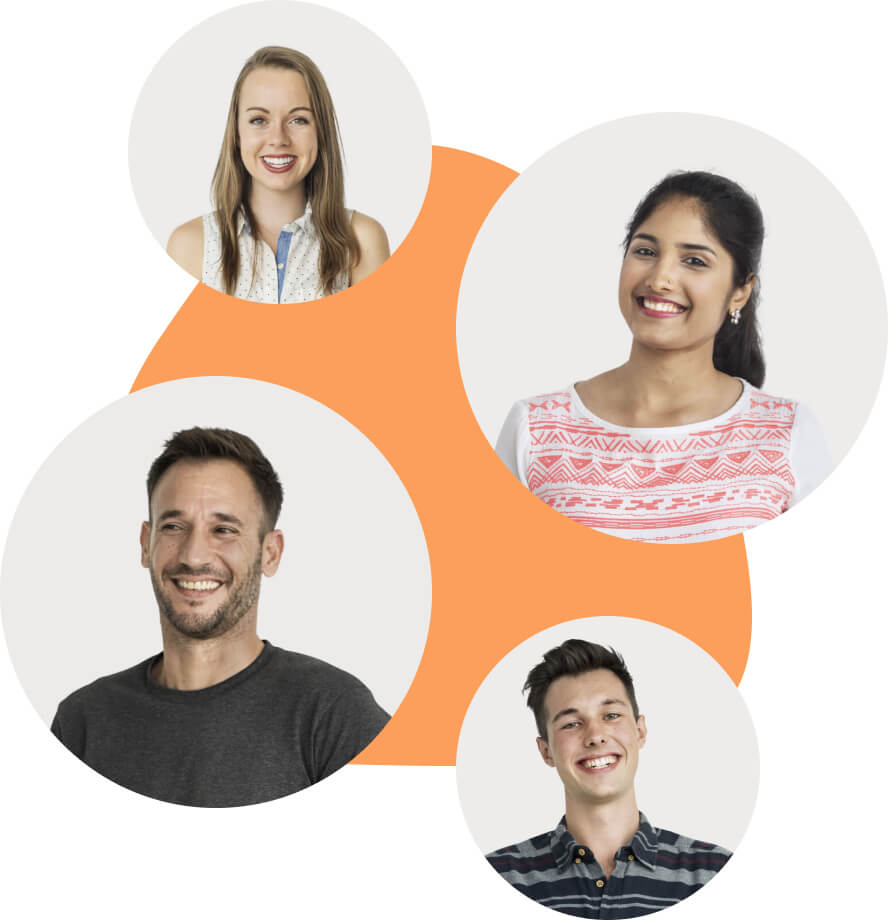 4 headshots of people onto of an orange blob-background.