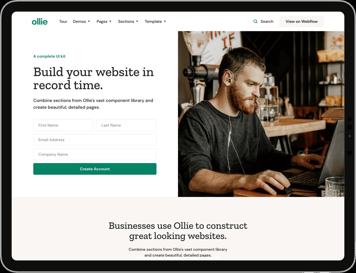 Screenshot of Ollie's website.