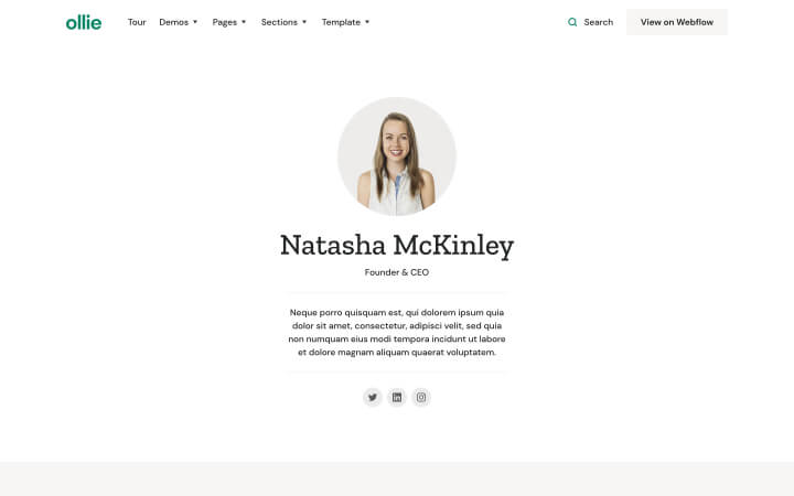 Website Screenshot of Ollie's founder and CEO, Natasha McKinley.