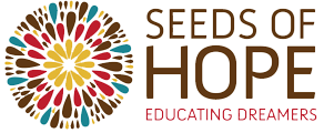 Colorful SEEDS of Hope icon and text.