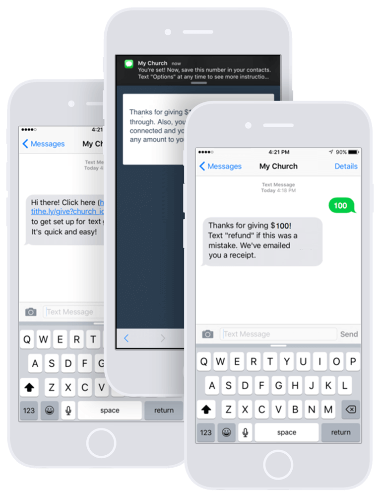 Text giving for Churches by Tithe.ly