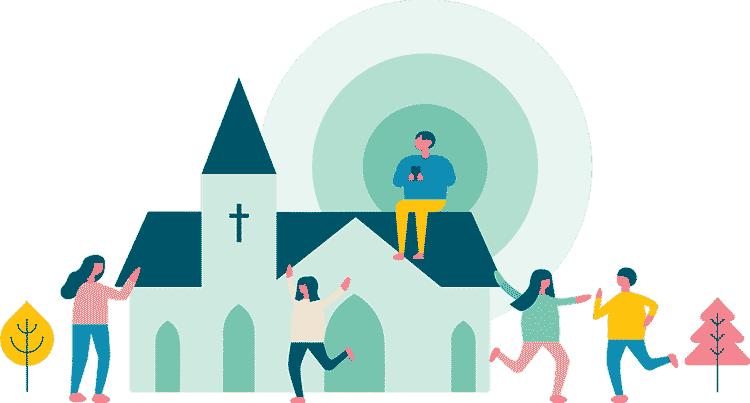 People using church technology