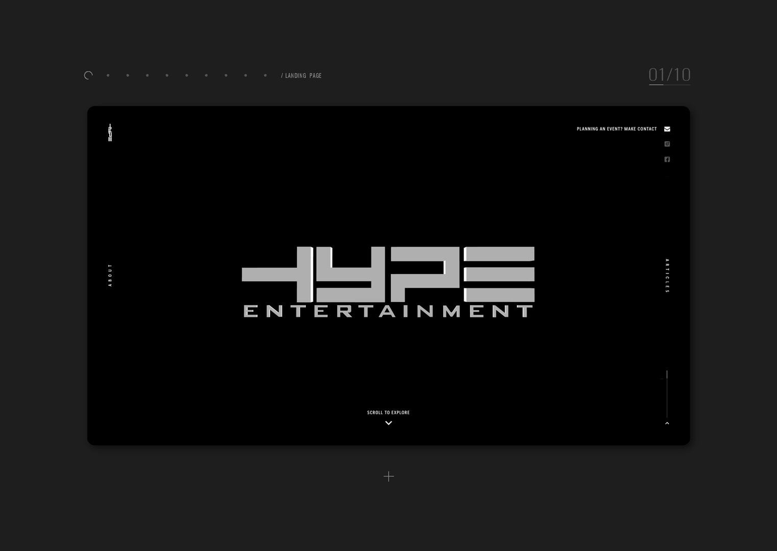 User interface designs for Hype Entertainment website