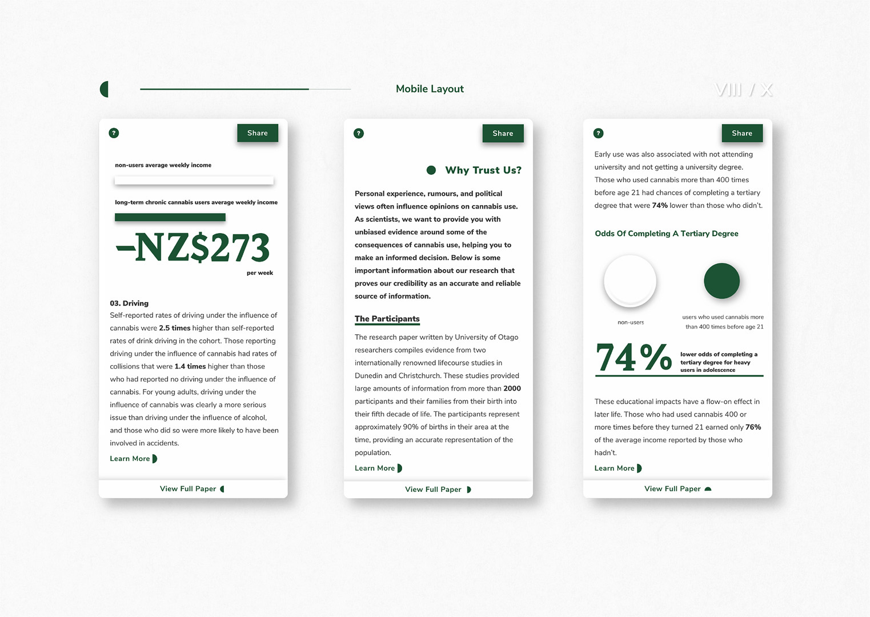 User interface designs for Cannabis Referendum website