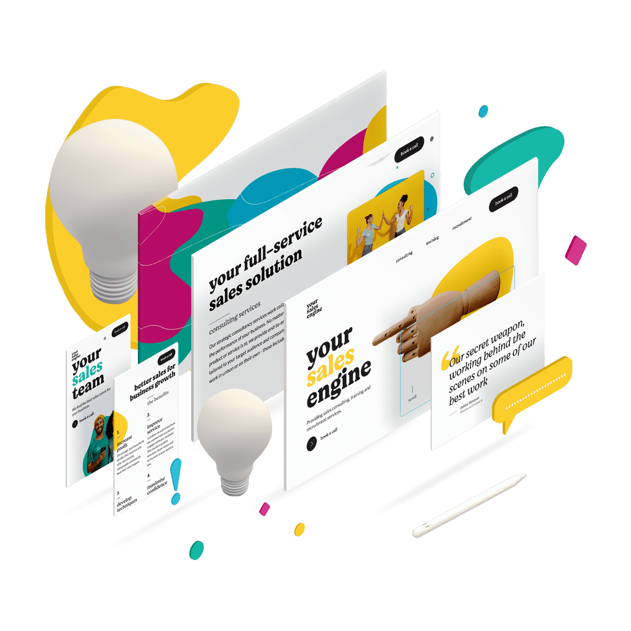 User interface designs for Your Sales Engine website