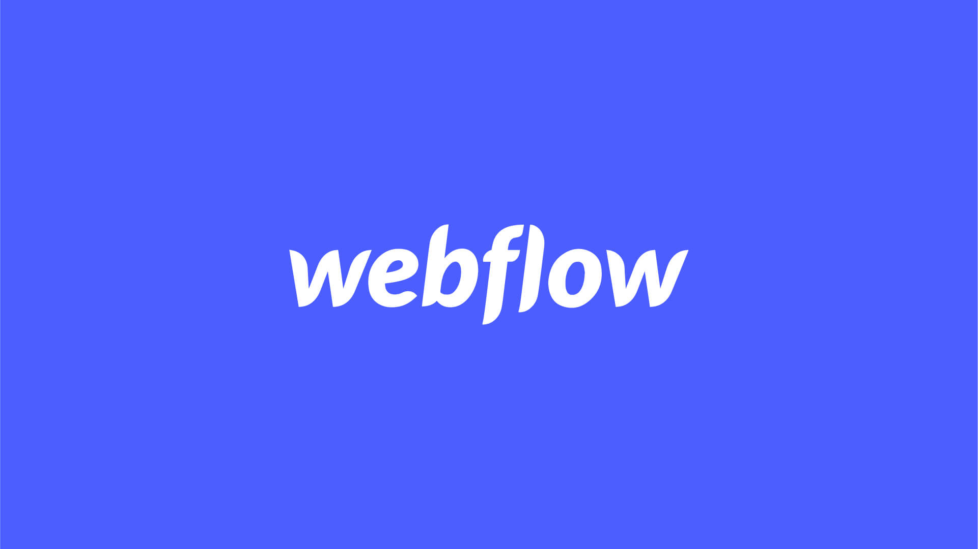 Webflow logo on a blue background