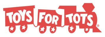 Red train toys for tots logo