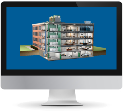 Computer monitor showing a model building
