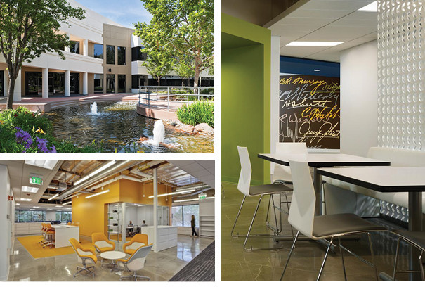 Three photos of the Clorox office building