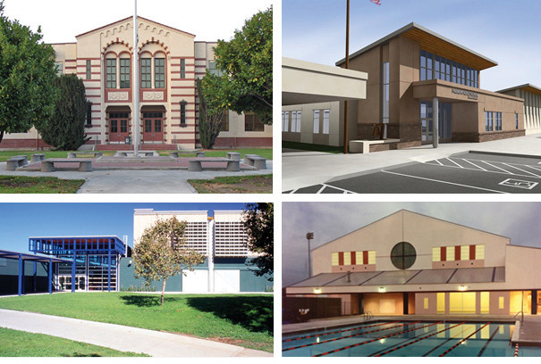 four images of different buildings in the Fremont School district