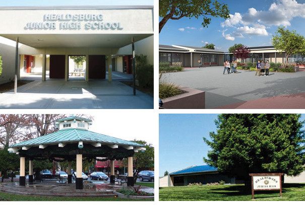 4 photos of different locations in the Healdsburg school district
