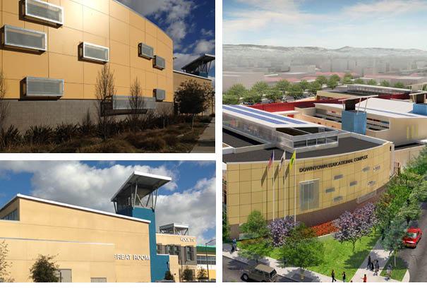 three photos of oakland school district buildings