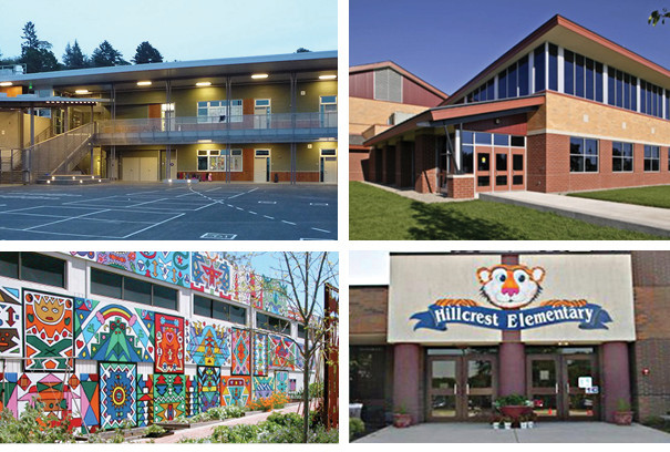 four pictures of buildings in the Oakland unified school district
