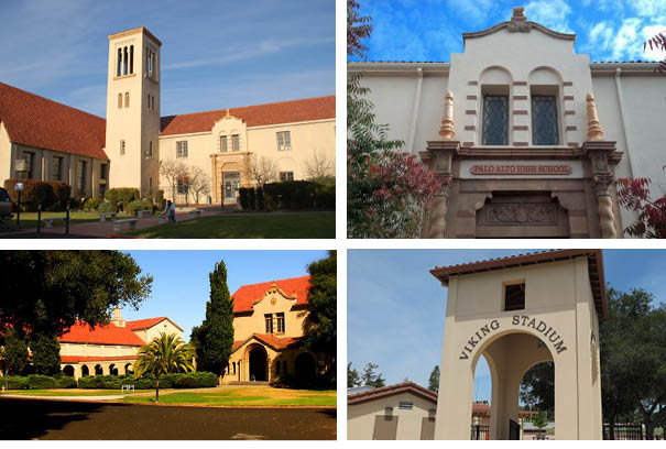 four pictures of buildings in the palo alto school district