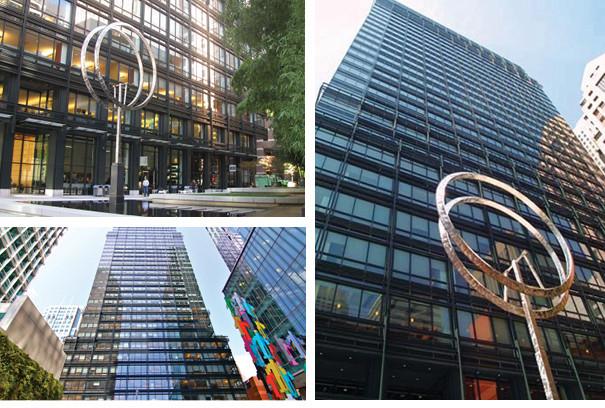 Three Low angle shots of a multi-windowed skyscraper