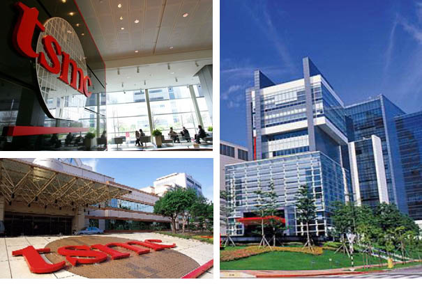 Three images of the Taiwan Semiconductor headquarters's interior