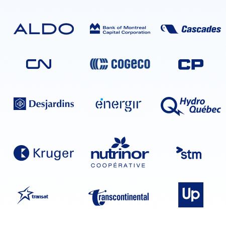 Logo of Aldo, BMO, Cascade, Cogeco, CN, CP, Desjardins, Energir, Hydro Quebec, Kruger, Nutrinor, STM, Transat, Transcontinental, UP