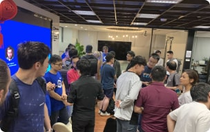 Community members attending a Chainlink event photo
