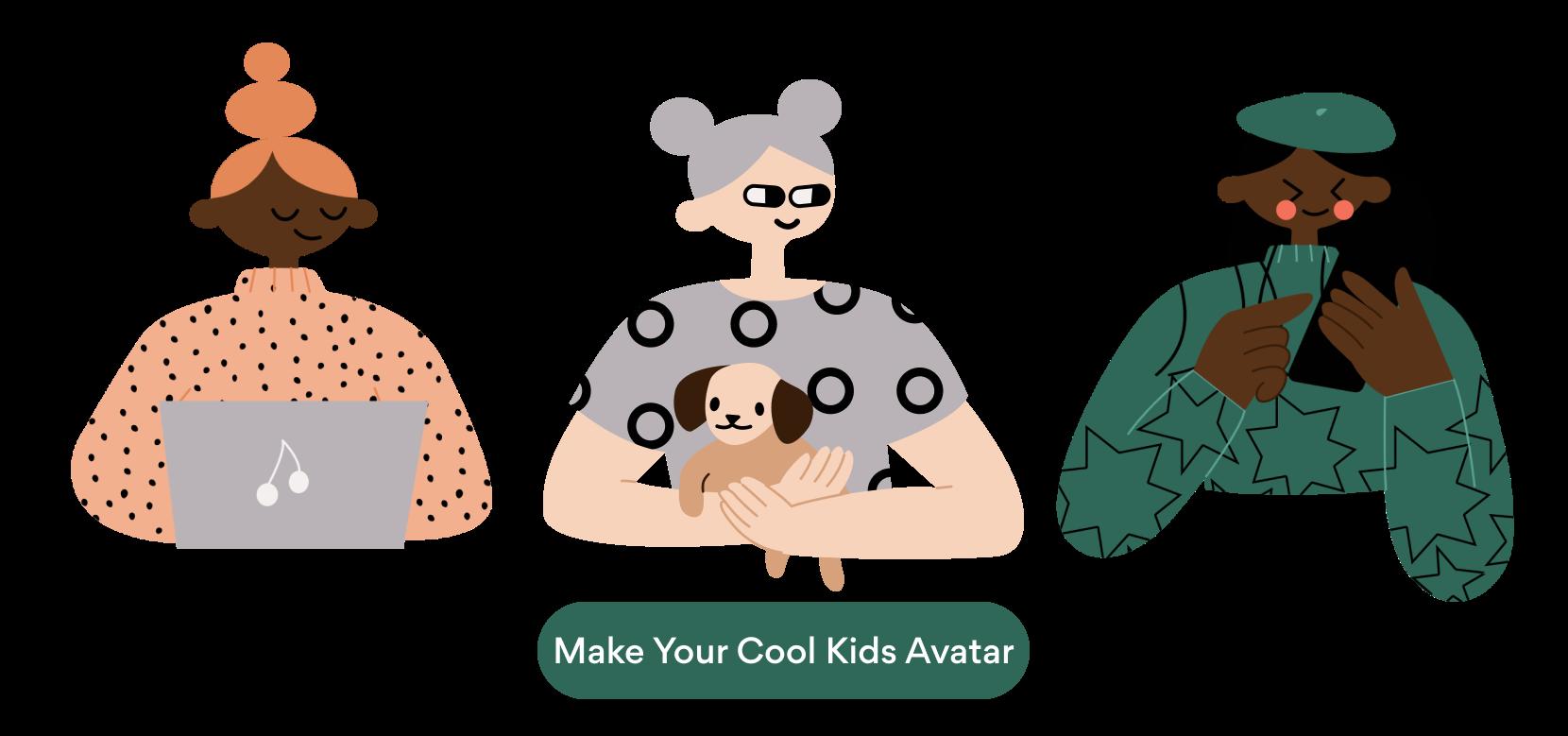 Avatars with cool kids illustrations