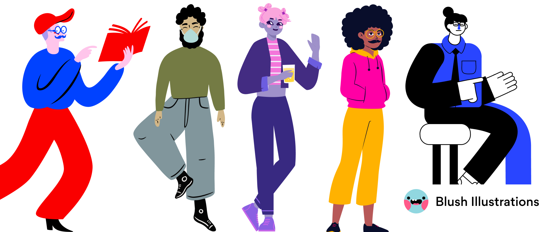 Doodle characters from different collections on Blush
