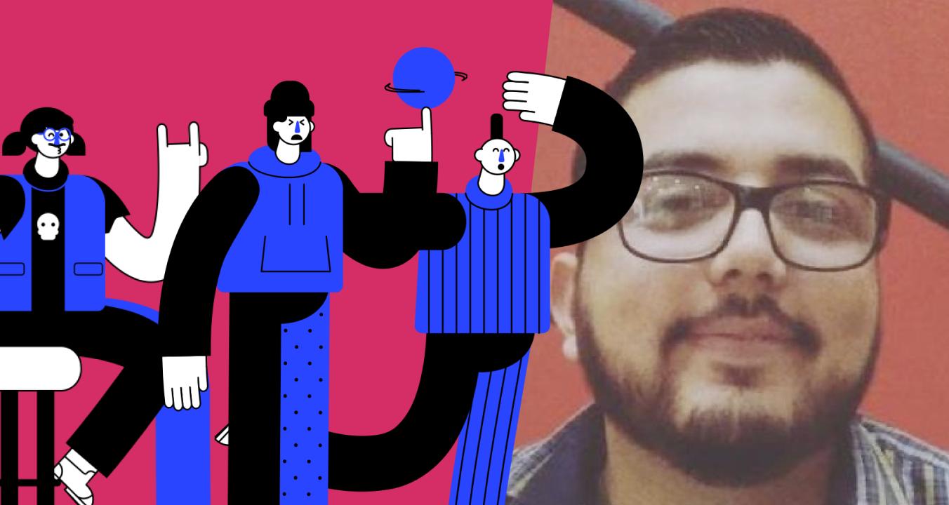 Photo of Brandon Mendoza and his illustrations